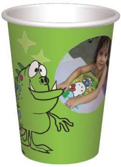כוס מפלצונים ירוקים בכוכבים - רקע ירוק