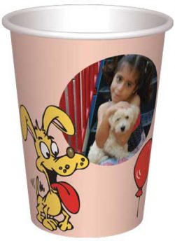 כוס כלבים מתוקים מוצאים בלון - רקע אפרסק