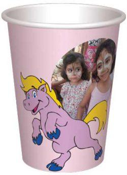 כוס סוסון ודובון צהוב עם בלונים