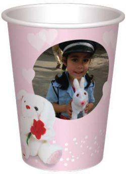 כוס בובת ארנב ופרח