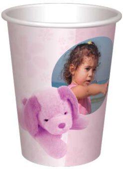 כוס בובת כלבלב ורודה - רקע פרחים