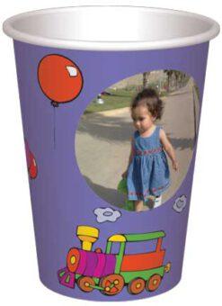 כוס דובונים, בלונים ורכבת רקע סגול